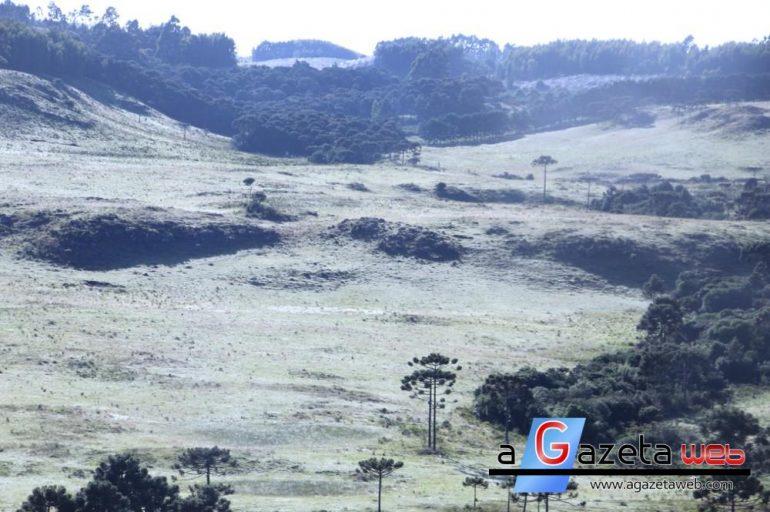 Em pleno verão, serra de Santa Catarina registra baixas temperaturas e geada