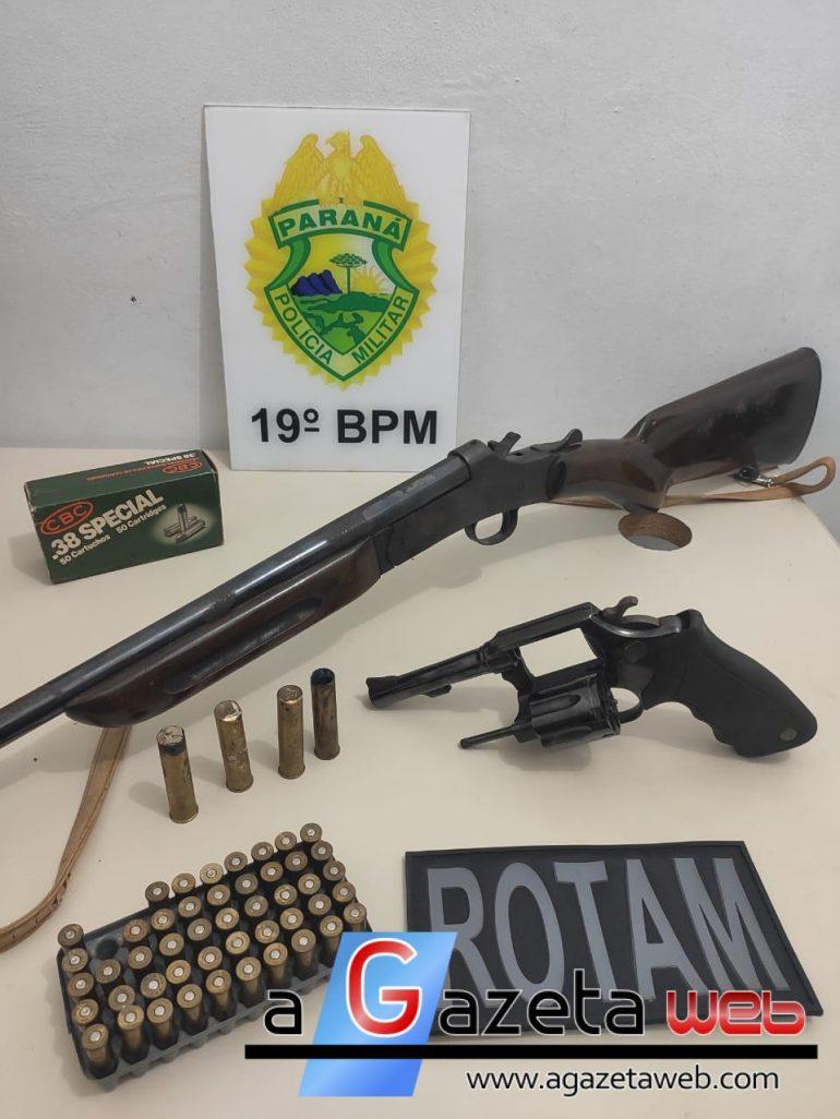 Armas são apreendidas pela PM após ocorrência de ameaça em Toledo