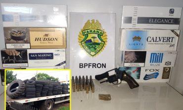 BPFron prende dois em Nova Santa Rosa e apreende arma, droga, munição, cigarros e pneus contrabandeados