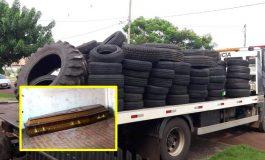 BPFron prende uma pessoa em Nova Santa Rosa e apreende cerca de 200 pneus em depósito de borracharia