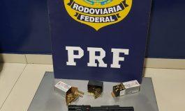 PRF apreende pistola e munições ocultas em cadeirinha de criança
