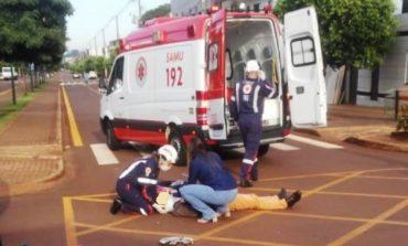 Motociclista fica ferido em colisão no centro de Palotina