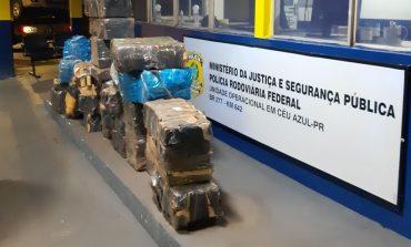 PRF recupera veículo roubado em Foz do Iguaçu, carregado com 725 quilos de maconha na BR-277
