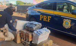 Após perseguição, PRF apreende 165 quilos de maconha no Oeste do Paraná