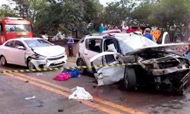 Acidente envolve três carros e deixa 11 feridos na PR-180, em Cascavel, na manhã de hoje (1º)