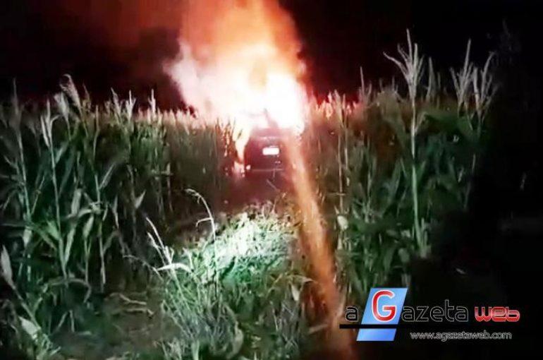 Após perseguição por 80 km, PRF, com o apoio da PM, apreende veículos com cigarros; um deles pegou fogo