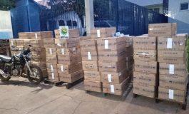 BPFron apreende 52.500 carteiras de cigarros e uma motocicleta em Santa Helena, na Operação Hórus