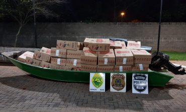 Operação Hórus apreende embarcação carregada com cerca de 50 mil maços de cigarros paraguaios
