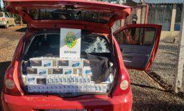 BPFron apreende veículo com cigarros contrabandeados na área rural de Marechal Rondon