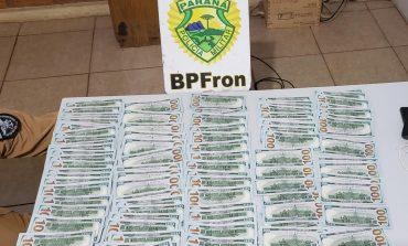 BPFron apreende 11.000 dólares de origem oculta em Nova Santa Rosa