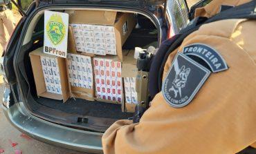 Carro com 300 pacotes de cigarros contrabandeados é apreendido pelo BPFron em Quatro Pontes