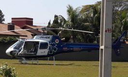 Helicóptero do Samu está em Nova Santa Rosa para transferir idoso de 76 anos que sofreu infarto