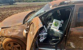 BPFron prende condutor e apreende cigarros após fuga e capotamento em Marechal Cândido Rondon