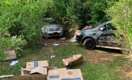 BPFron apreende veículo abandonado em meia a mata com cigarros em Mercedes