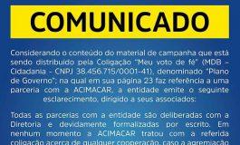 Acimacar reage a Plano de Governo de Pedralli e nega qualquer parceria com coligação do candidato