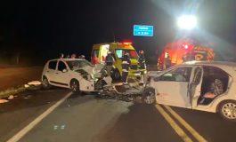 Sete pessoas ficam feridas em colisão frontal na BR 277, em Céu Azul, na noite desta segunda-feira (2)