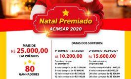 Acinsar lança a promoção Natal Premiado 2020, com mais de R$ 25 mil em prêmios