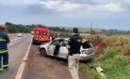 Capotamento é registrado na manhã de hoje (9) entre Cascavel e Toledo; duas pessoas estavam no carro