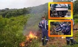 Casal morre após colisão de carro contra caminhão na BR-373, hoje (20), em Chopinzinho, no Paraná
