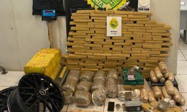 Polícia Militar com ação do Batalhão de Polícia de Trânsito prende dois e apreende 158 quilos de drogas
