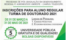 Pós-graduação em Desenvolvimento regional e Agronegócio da Unioeste abre inscrições para Doutorado