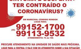 Pacientes com suspeita de Covid-19 devem procurar unidade de saúde mais próxima ou o callcenter
